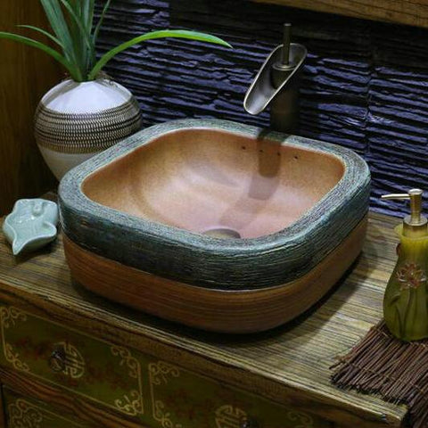 $400.79- Handmade Primitive Style Stone Like Porcelain Countertop Lavabo Bathroom Sink Wash Basin
