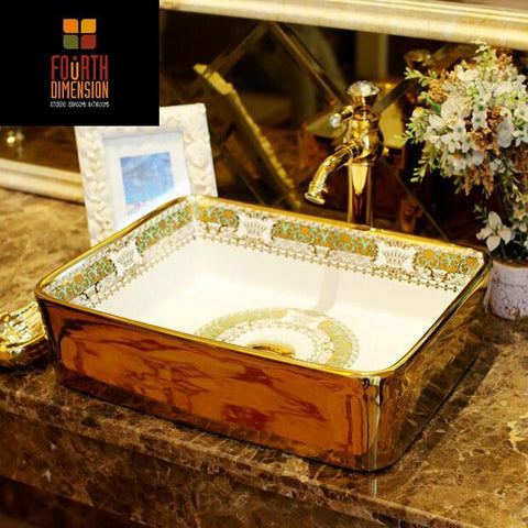 $808.75- Luxurious Patterned Golden Rectangular Countertop Ceramic Bathroom Sink Wash Basin