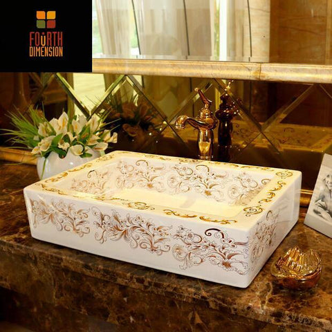 Rectangular Artistic Porcelain Square Ceramic Bathroom Sink Countertop Wash  Basin