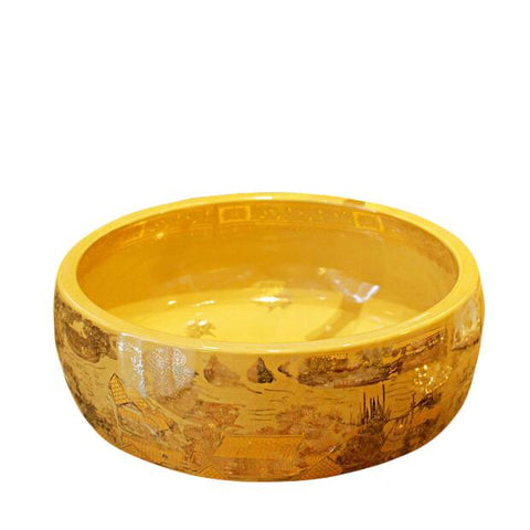 $335.26- 3Colors Antique Painting Style Countertop Round Lavobo Ceramic Bathroom Sink Washbasin