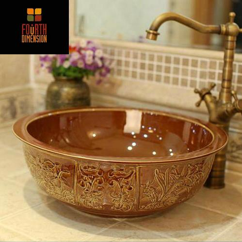 $346.78- 6Colors Handmade Engraved Four Junzi Plants Ceramic Lavabo Aboral Bathroom Sink Wash Basin