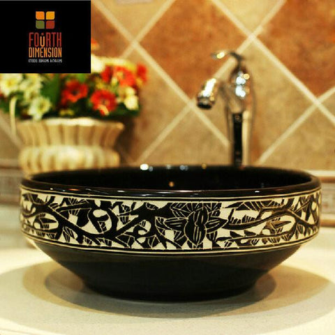 $316.57- Round Engraving Black Ceramic Washbasin Bathroom Sink