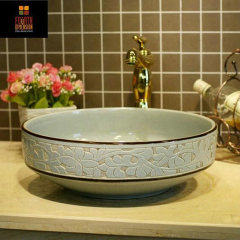 $395.47- Crackle Style Porcelain Engraving Round Ceramic Bathroom Sink Washbasin