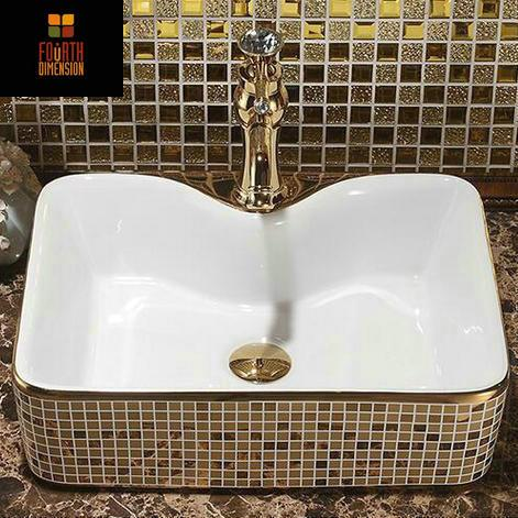 $322.01- Mosaic Gold Artistic Countertop Rectangular Ceramic Bathroom Sink