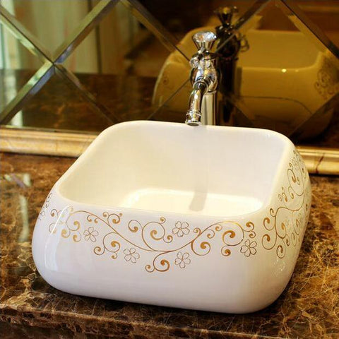 $305.00- Golden Flower Purfle Ceramic White Square Lavobo Ceramic Bathroom Countertop Bathroom Sink