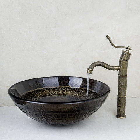 $251.94- Antique Brass Kitchen Swivel TapBathroom Sink Washbasin Tempered Glass HandPainted Lavatory Combine Set Torneira Mixer Faucet