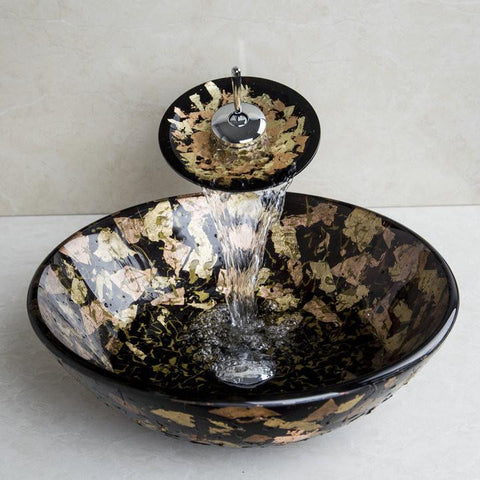 $239.00- Brand Single Handle Washbasin 2014 Tempered Glass HandPainted Tap 42001 Lavatory Bathroom Sink Bath Brass FaucetsMixer