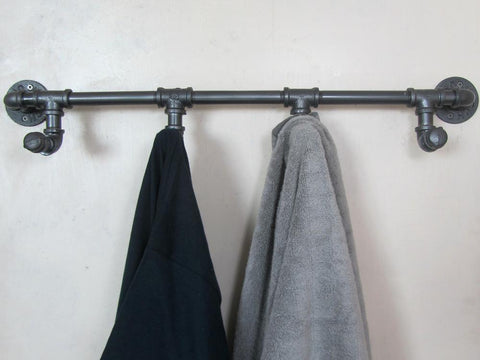 $114.98- Industrial Retro Urban Rustic Iron Pipe Wall Mounted Towel Hook Rail Coat Rack Home Bedroom Restroom Bathroom Decor