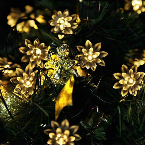 $28.18- 20 Led Solar Sun Powered Floral Led String Lights Led Fairy Light For Wedding Christmas Party Festival Outdoor Indoor Decoration