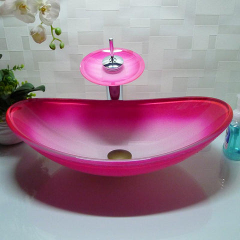 $439.52- Oval Bathroom Tempered Glass Pink Counter Top Wash Basin Cloakroom Hand Painting Above Counter Vessel Sink Washing Bowl Hx014