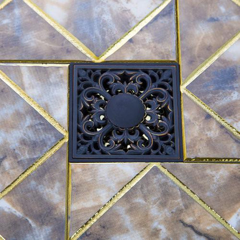 $46.73- Oil Rubbed Black Bronze Flower 5383 Square Carving Floor Waste Grates Bathroom Shower Drain Strainer 4 Inch Drain