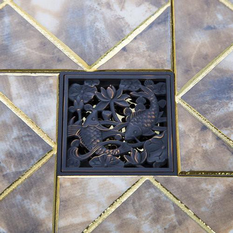 $46.73- Double Dragon Fish Drain Bathroom Sink Basin Oil Rubbed Black Bronze Flower 5381 Carved Drain Shower Waste Drainer Floor Drain