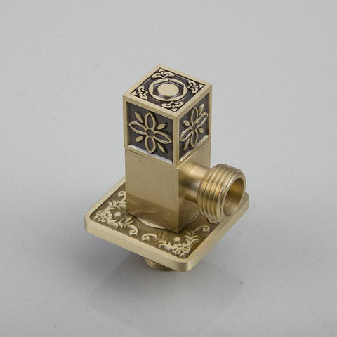 $46.62- Square Solid Brass Higher Quality L5672A Antique Brass Bathroom Strainer Basin Sink Kitchen Angle Valve