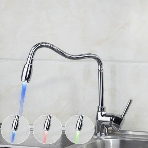 $57.06- Luxury Kitchen Led Light Polished Chrome Swivel 85514 Deck Mount Cozinha Torneira Single Hole Mixer Tap Faucet