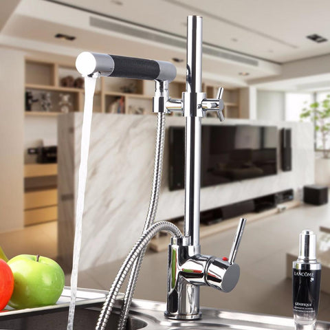 $145.69- Solid Brass Basin Faucet Hot&Cold Water Tap Single Handle Wash Chrome Finish Kitchen Sink Mixer Taps W/ Hose