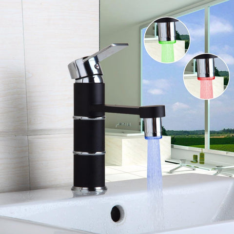 Led Black Kitchen Bathroom Swivel Mixer Cold Hot Kitchen Tap Single Hole Water Tap Kitchen Faucet Torneira Cozinha