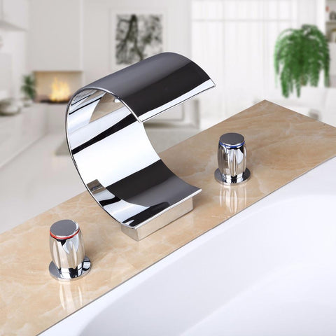 Three Piece Promotion Polished Chrome Brass Waterfall Bathroom Basin Faucet Square Vanity Sink Mixer Tap
