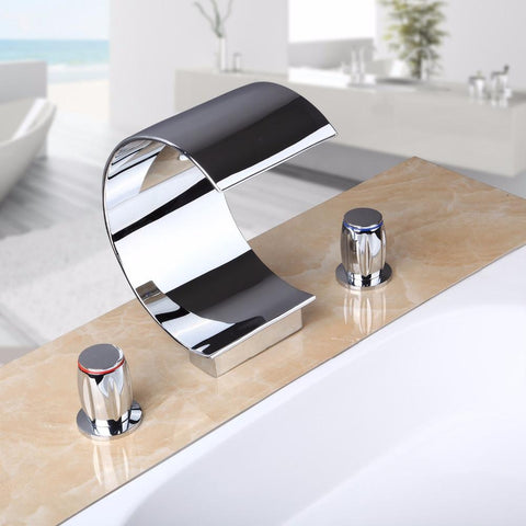 Bathroom Waterfall Faucet Glass Waterfall Wash Basin Mixer Tap Deck Mounted Single Handle Bathroom Faucet