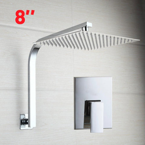 $90.59- Chrome Shower Valve 8Inch Square Head W/ Wall Mounted Super Thin Goose Neck Arm Shower Set Faucets