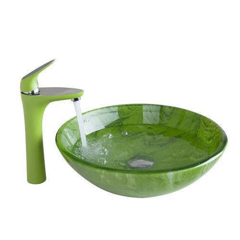 $281.59- Green Tall Basin TapYanksmart Bathroom Sink Washbasin HandPainted Waterfall 416897081 Lavatory Bath Brass Set FaucetMixer Tap