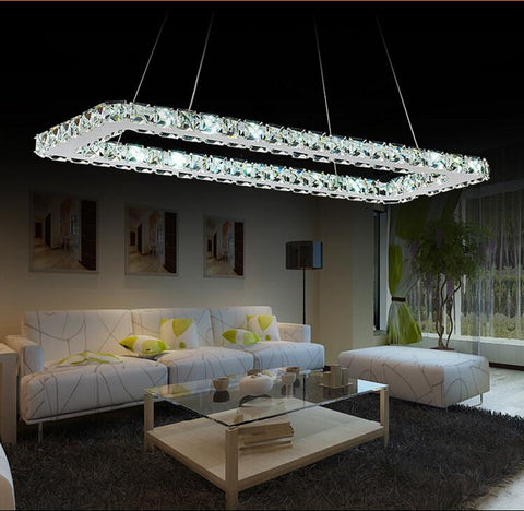 $91.26- Luxurious Silver Square Crystal Led Chandelier Crystal Lamp / Light / Lighting Fixture Modern Led Chandeliers