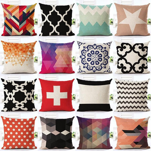 $7.43- Nordic Style Geometry Pattern Printed Throw Pillow Case Linen Cotton Cushion Cover Creative Decoration For Sofa Car Covers