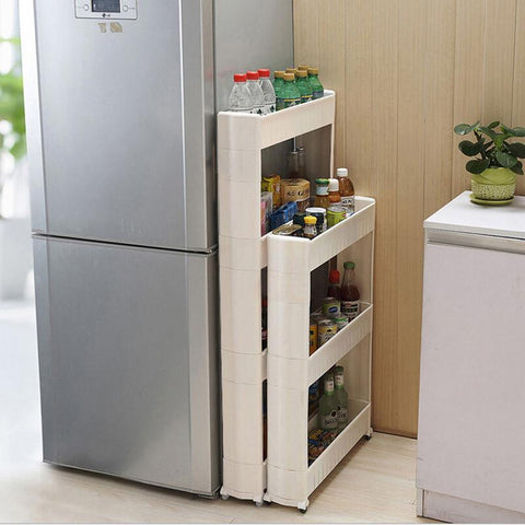 $68.24- 1 Pc White Gap Storage Shelf For Kitchen Storage Skating Movable Plastic Bathroom Shelf Save Space 3 4 Layers High Quality
