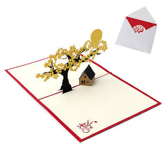 $2.83- 3D Pop Up Holiday Greeting Cards Cherry Tree House Christmas Thanksgiving Gift