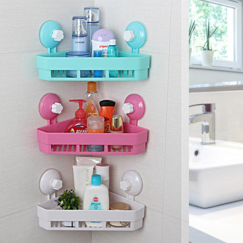 $15.45- 4 Colors Plastic Bathroom Corner Triangle Sucker Storage Racks Wall Mounted Bathroom Shelves Holder Home Organizer
