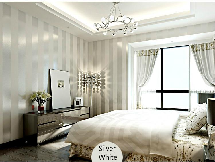 Striped bedroom wallpaper design decoration for Striped wallpaper bedroom designs