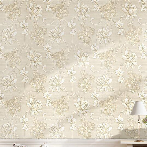 $42.88- Luxury Italian Silk Fabrics Vintage 3D Floral Wall Paper Papel De Parede Light Color Flower Wallpapers For Bedroom Home Decor