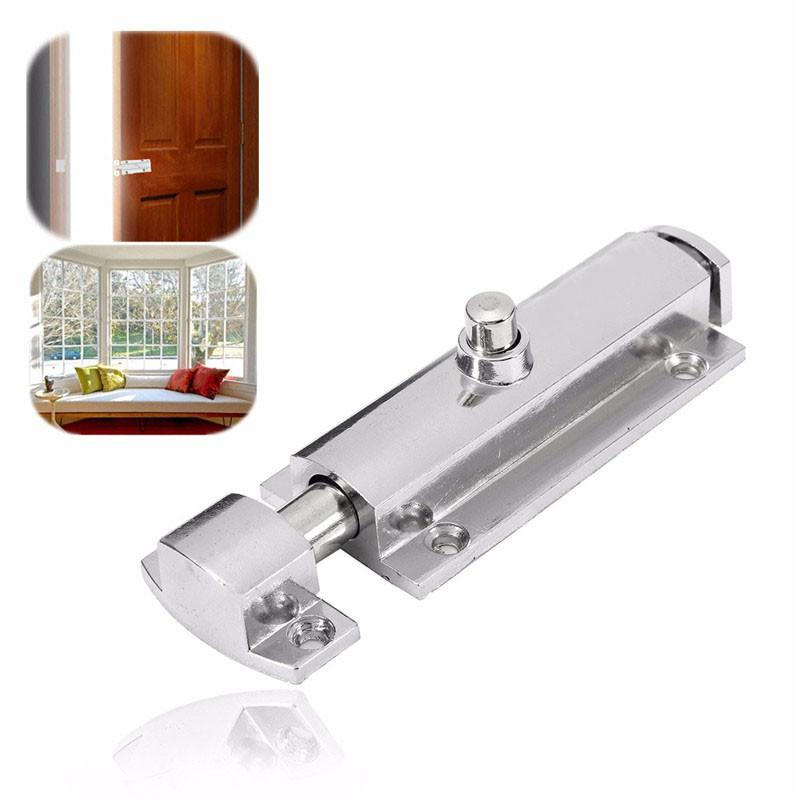 $4.18- 406 Home Door Window Security Bolt Lock Button Open Type Chrome Plated Zinc Alloy 98X30X13Mm RustProof Durable
