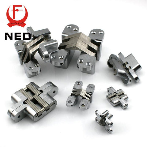 $19.89- Ned4011 19X95Mm Invisible Concealed Cross Door Hinge 304 Stainless Steel Hidden Hinges Bearing 60Kg W/ Screw For Folding Door
