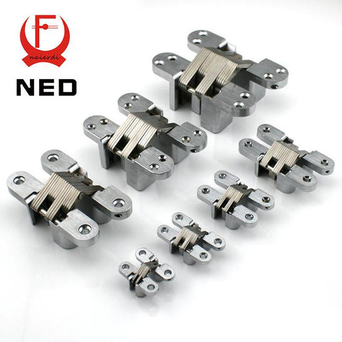 $7.35- Ned4013 304 Stainless Steel Hidden Hinges 13X60Mm Invisible Concealed Cross Door Hinge Bearing 25Kg W/ Screw For Folding Door