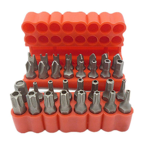 $15.01- Security Tamper Proof Bit Set 33Pcs Torq Torx Hex Star Spanner Tri Wing Electric Screwdrive Hex Bit 1/4 6.35Mm Magnetic Holder