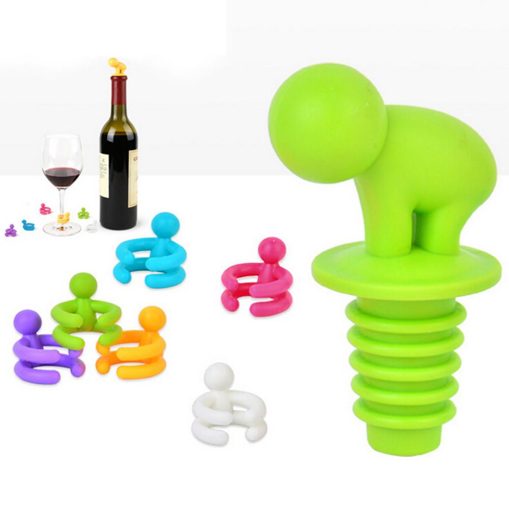 $3.71- Creative Silicone Small Drunkard Champagne Wine Bottle Stopper W/ Wine Glass Cup Marker Set Novelty Party Accessories