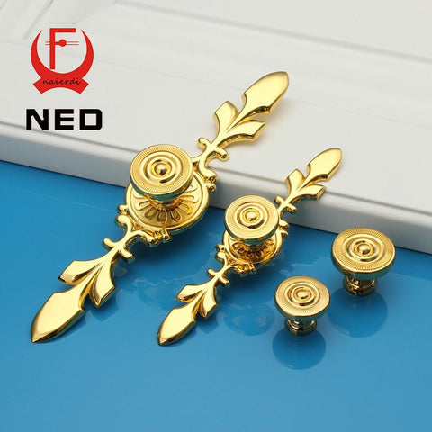 $5.66- Ned 170Mm Color Gold Handles Kitchen Door Cupboard Zinc Alloy European Retro Wardrobe Furniture Handle Drawer Pull Cabinet Knobs