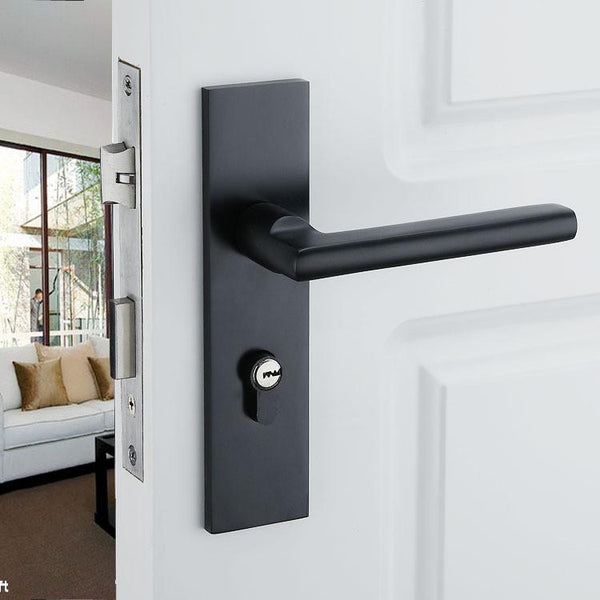 $23.00- Black Solid Space Aluminum Door Locks Continental Bedroom Minimalist Interior Door Handle Lock Cylinder Security Locks Packages
