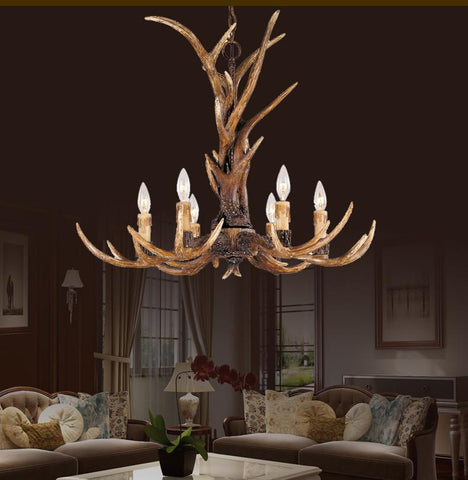 $250.83- Europe Country 6 Head Candle Antler Chandelier American Retro Resin Deer Horn Lamps Home Decoration Lighting E14 110240V