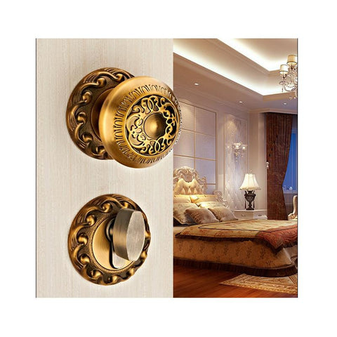 $96.34- European Yellow Bronze Spherical Carved Lock Double Mute Bedroom Door Lock Bathroom Indoor Lock Hardware Wooden Golden Door Lock