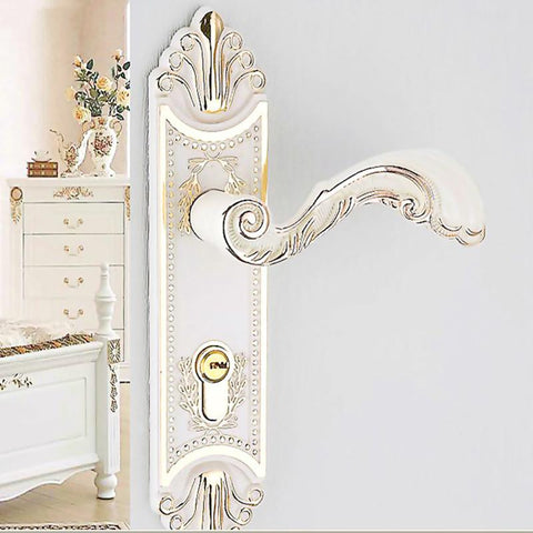 $100.13- The Door Knob Lock European Indoor Bedroom Door Locks Ivory White Wood Door Living Room Mute Lock Furniture Hardware Handle Lock
