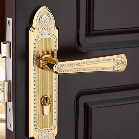 $110.50- European Ancient Ivory White Locks Gold Wooden Interior Door Handle Lock Zinc Coated Copper Double Bolt Door Lock Wood Mute Lock
