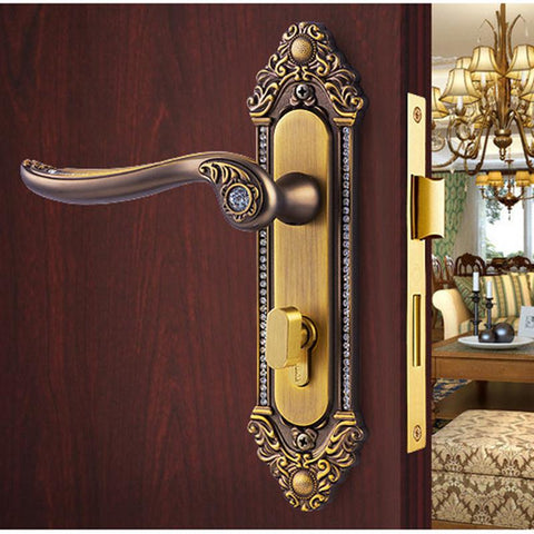 Continental Carved Locks Hollow Wood Door Mute Locks Bedroom ...