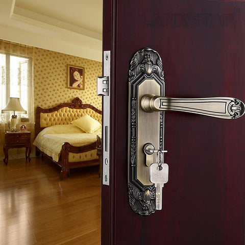 $78.32- High Quality Hard Zinc Alloy Door Locks Antique Europeum Style Hotel AntiTheft Door Mechanical Indoor Handle Lock