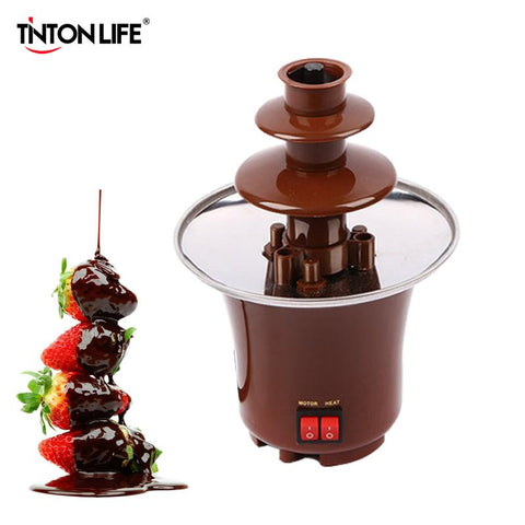 $43.24- TintonLife New Mini Chocolate Fountain Creative Design Chocolate Melt W/ Heating Fondue Machine