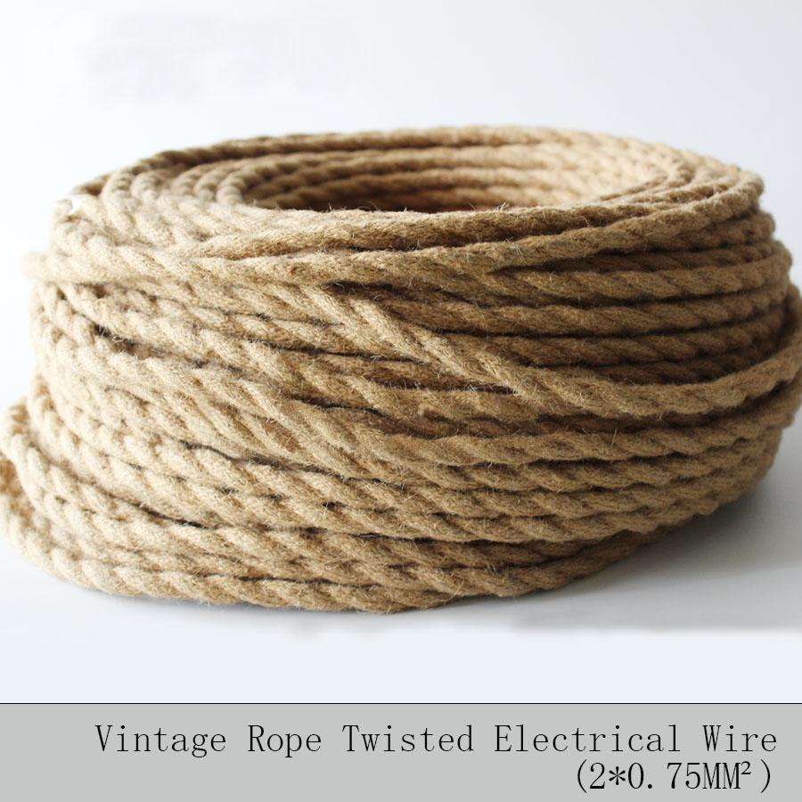 $18.59- 2*0.75 5M/Lot Vintage Rope Textile Wire Twisted Cable Braided Electrical Wire Retro Pendant Light Lamp Line Vintage Lamp Cord
