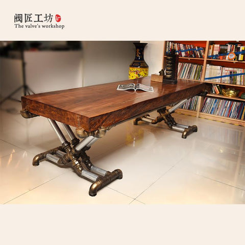 American Retro Industrial Wood Old Wrought Iron Tables Vintage Pine Desk Table Office Table Boss Table Factory J002