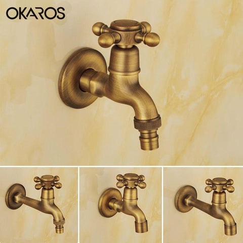 $28.51- Okaros Antique Brass Finish Laundry Mop Pool Washing Machine Faucet Water Cold Tap Wall Mount Outdoor Garden Bibcock Faucet