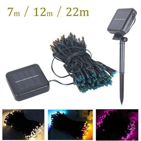 7M/12M/22M Led Solar Lamps String Fairy Light Christmas Garlands Solar Light Led Garden Party Wedding Decor Outdoor Waterproof