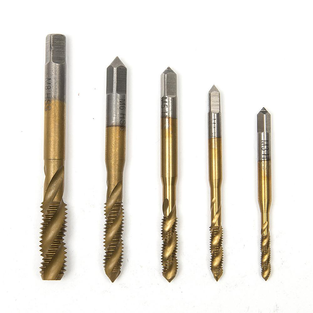 $11.59- 5Pc/Lot Titanium Coated Metric Hss Spiral Fluted Machine Screw Tap M3 M4 M5 M6 M8 Spiral Pointed Taps Tapping Thread Forming Tap